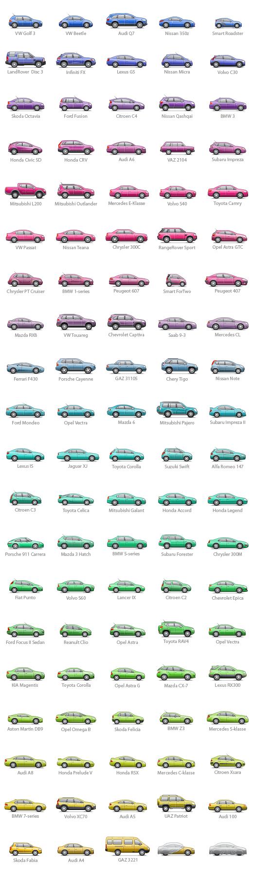 Иконки автомобилей для Автокадабры